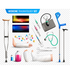 traumas medical tools set vector image