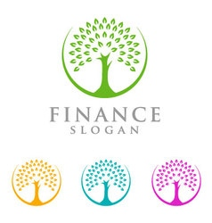 Tree finance logo eco green logo vector