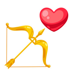 valentines day heart with bow and arrow vector image