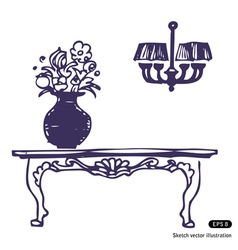 Vintage table vase with flowers and chandelier vector