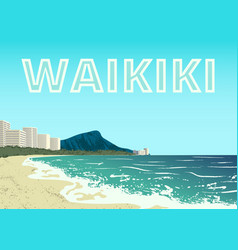 Waikiki beach oahu island vector