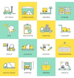 Warehouse icons flat line vector image