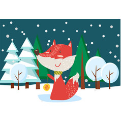 winter postcard with fox in snowy forest vector image