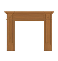 wood surround classic fireplace vector image