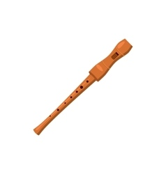 Wooden flute icon cartoon style vector image