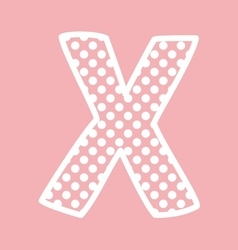 X alphabet letter with white polka dots on pink vector image