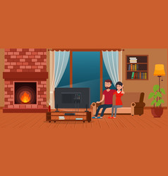 Young couple sitting on sofa watching tv vector