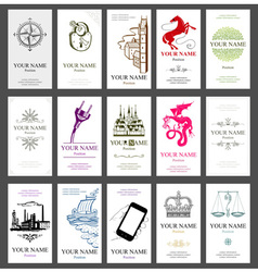 15 vertical business cards vector image vector image
