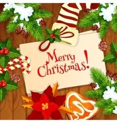 Christmas tree and xmas stocking greeting card vector image vector image