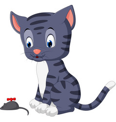 cute cat cartoon playing mouse vector image
