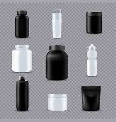 fitness sport bottles realistic transparent vector image vector image