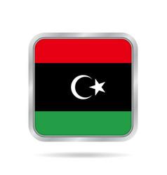 flag of libya shiny metallic gray square button vector image vector image