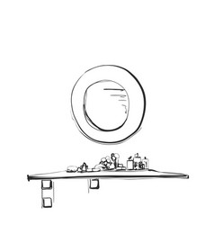 hand drawn table chair and mirror sketch vector image