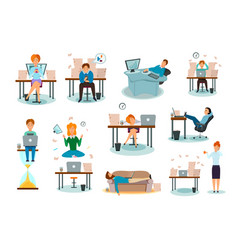 procrastination characters cartoon icons set vector image