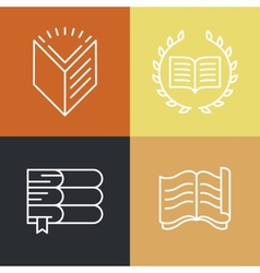 Set of outline education logos and icons vector