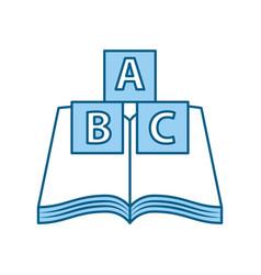 Text book school with blocks alphabet vector