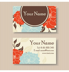 visit card with flowers vector image