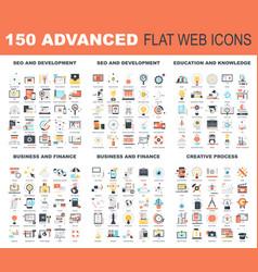 advanced flat web icons vector image vector image