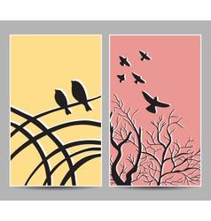 card birds tree vector image vector image