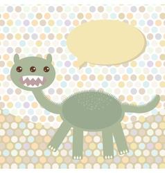 Polka dot background pattern funny cute dinosaur vector