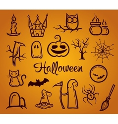 retro graphical composition with Halloween eleme vector image