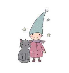 a cute little gnome a kitten and stars funny vector image