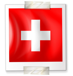 flag of switzerland on paper vector image vector image