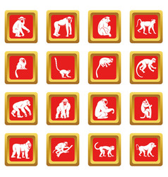 monkey types icons set red vector image vector image