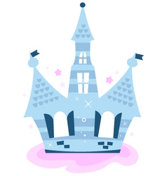 Princess sky Castle isolated on white - blue vector image