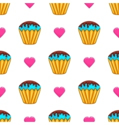 Seamless pattern with cake vector image