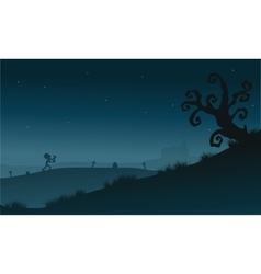 Scenery dry tree and zombie silhouette Halloween vector image