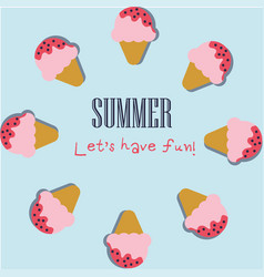 summer holiday background with cute ice cream vector image vector image