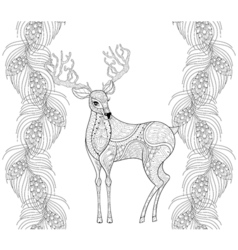 Zentangle reindeer with fir pine branch seamless vector image vector image