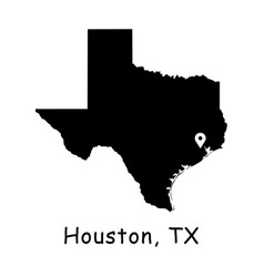 1286 houston tx on texas state map vector image