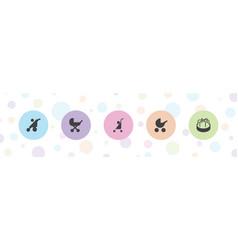 5 pram icons vector
