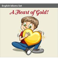 A boy holding a heart vector