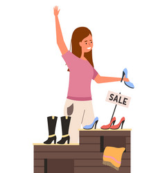 a girl with shoe is raising her hand shopper vector image