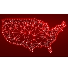Abstract polygonal map USA with glowing dots and vector image