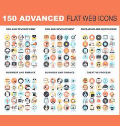 Advanced flat web icons vector