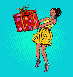african woman with gift box vector image