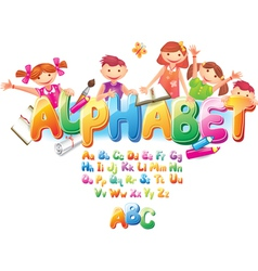 alphabet with children vector image