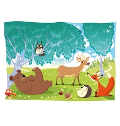 animals in wood vector image