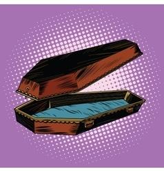 Antique wooden coffin is open vector