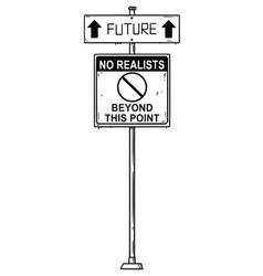 Artistic drawing traffic arrow sign vector