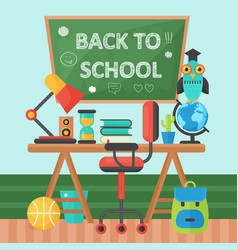 back to school banner chalkboard and pupil table vector image