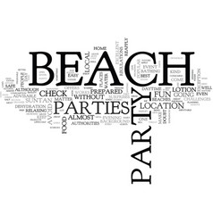 Beach parties text word cloud concept vector