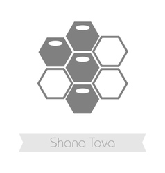 Bee honeycomb Rosh Hashanah icon Shana tova vector
