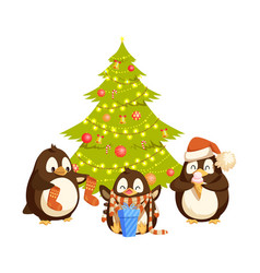 bird in hat and scarf near christmas tree vector image