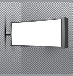 Blank store white signboard on transparent vector