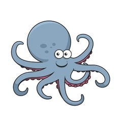 Blue octopus with curved tentacles vector image